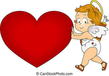 Baby Cupid - Illustration of a Baby Cupid Pushing a Giant...