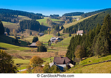 Black Forest Landscape - Farmland, farmhouses with chapel...