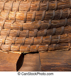Old-Fashioned Beehive - Traditional strawwicker woven bee...