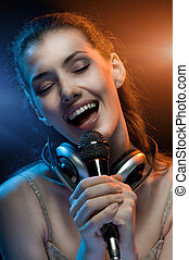 singing girl - pretty girl singing at the revelry party