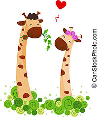 Giraffe Couple - Illustration of a Male Giraffe Offering...