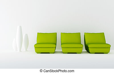 Three green seat in waiting room