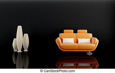 Orange sofa in dark room