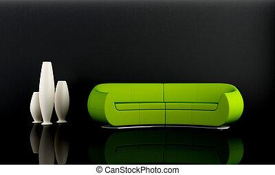 Green sofa in dark room
