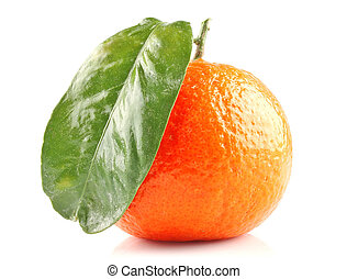 Ripe mandarine - Ripe orange mandarine fruit with green...