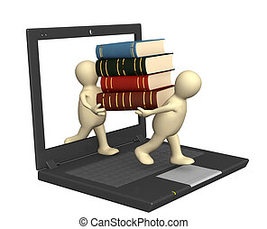 Books online - Conceptual image - library online. 3d render