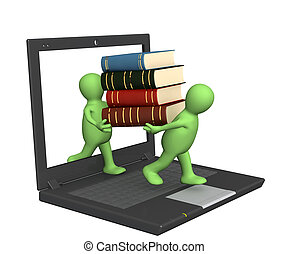 Books online - Conceptual image - library online 3d render