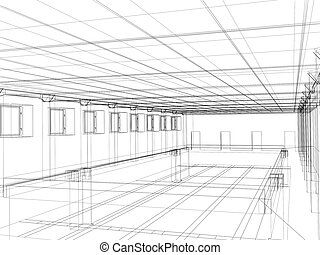 3d sketch of an interior