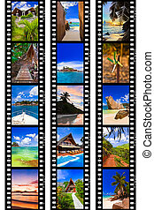 Frames of film - nature and travel my photos isolated on...
