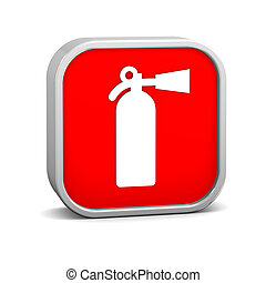 Fire Extinguisher Sign - Fire extinguisher sign on a white...