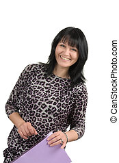 mature business lady with a folder isolated on a white...