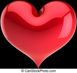 Red heart shape on black background - Valentine Heart shape....