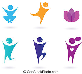 Collection of human yoga icons - Set of yoga icons -...