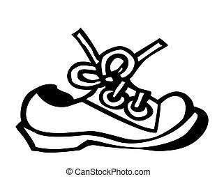 vector silhouette shoe on white background