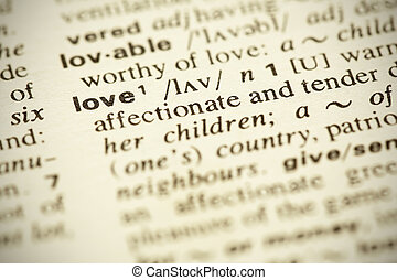 "Dictionary definition of the word ""LOVE"" in English. Shallow..."
