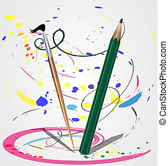 brush and pencil - Brush and pencil dance in a pair,...