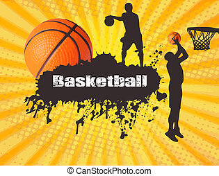 Basketball poster - Grunge basketball poster with players...