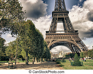 Eiffel Tower from Park du Champ de Mars, Paris - Eiffel...