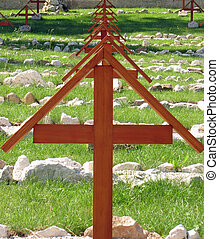 wooden crosses in a cemetery
