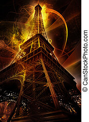 Eiffel tower with abstract swirls
