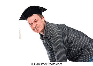 Happy young man in graduation cap