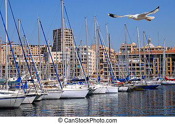 Port of Marseille with a seagull in flight in foreground
