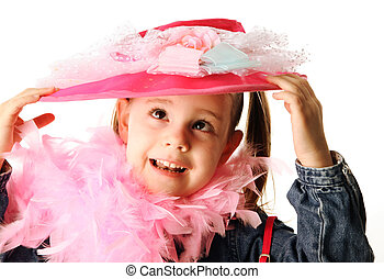 Funny preschool girl playing dress up - Portrait of an...