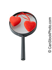 Magnifying Glass with two hearts - magnifying glass isolated...