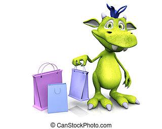 Cute cartoon monster holding shopping bag. - A cute,...