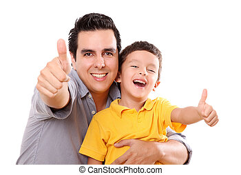 Positivism - Father and son having fun with a wave of...