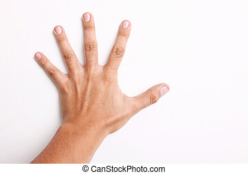 Open hand on a white wall over white background