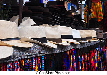 Panama Hats - Craft market stall with traditional Panama...