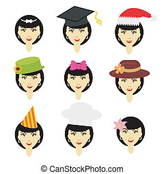 girl in different headdresses