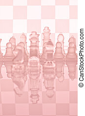 Glass chess on a glass countertop