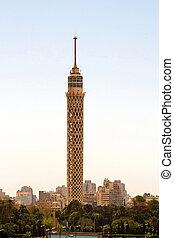 Cairo Tower - Landmark tower at Gezira island in Cairo Egypt...