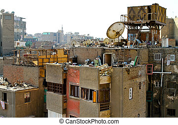 Real Cairo - Dirty buildings and garbage all around in Cairo...