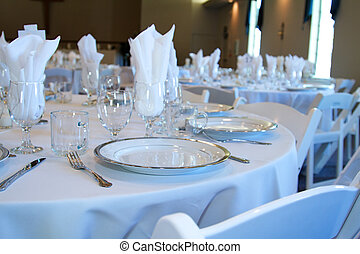 Reception - Wedding reception table top with flatware and...