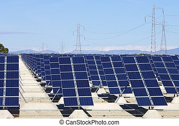 solar energy - forefront of solar panels for power...