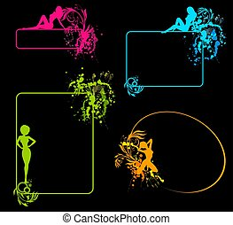 silhouette of girl and blots