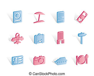 travel, trip and holiday icons