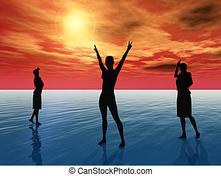 Faith, Hope, Charity, Help - Three people, who symbolize...