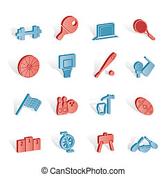 Sports gear and tools - vector icon set