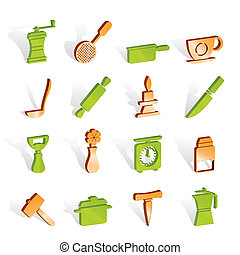 Kitchen and household tools icons