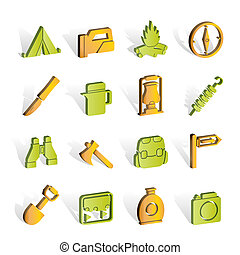 tourism and hiking icons