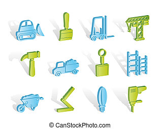 Building and Construction equipment icons - Vector Icon Set
