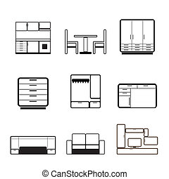 Furniture and furnishing icons - vector icon set