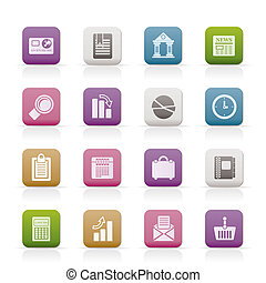 Business and Office Realistic Internet Icons - Vector Icon...