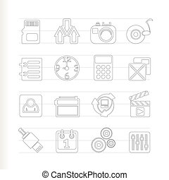 phone, internet and office icons