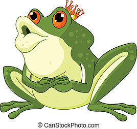 Frog Prince waiting to be kissed - Clip Art of a Frog Prince...