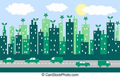 green city - illustration of a green city